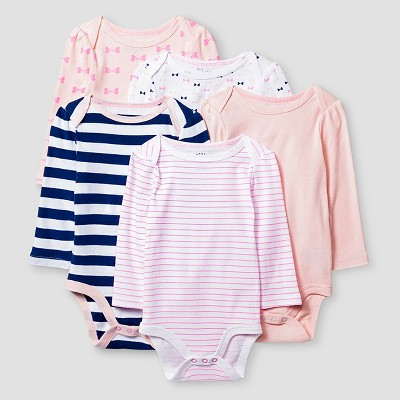 Baby Girls' Long Sleeve 5 Pack Bodysuit Cat & Jack™ - Pink/Navy 0-3M