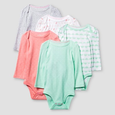 Baby Girls' Long Sleeve 5 Pack Bodysuit - Cat & Jack™ Coral/Aquamint NB