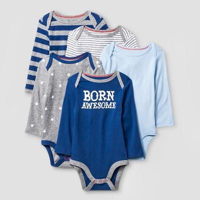 Baby Boys' Long Sleeve 5 Pack Bodysuit Cat & Jack™ - Navy/Heather Gray
