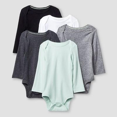 Baby Long Sleeve 5 Pack Bodysuit Cat & Jack™ - Gray/White 3-6M