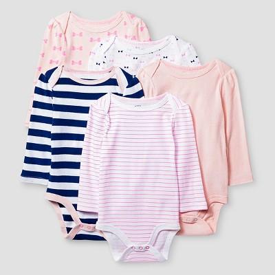 Baby Girls' Long Sleeve 5 Pack Bodysuit - Cat & Jack™ Pink/Navy 6-9M