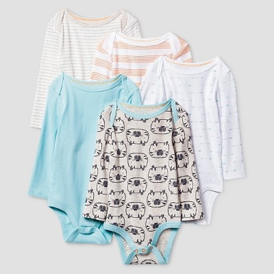 Baby Boys' Long Sleeve 5 Pack Bodysuit Cat & Jack™ - Turquoise/White/Gray/Orange NB