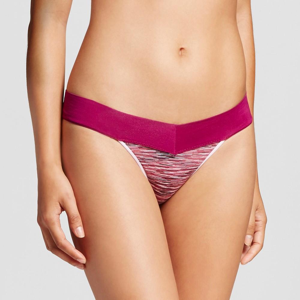 Womens Seamless Thong - Xhilaration Red Grape Spacedye S