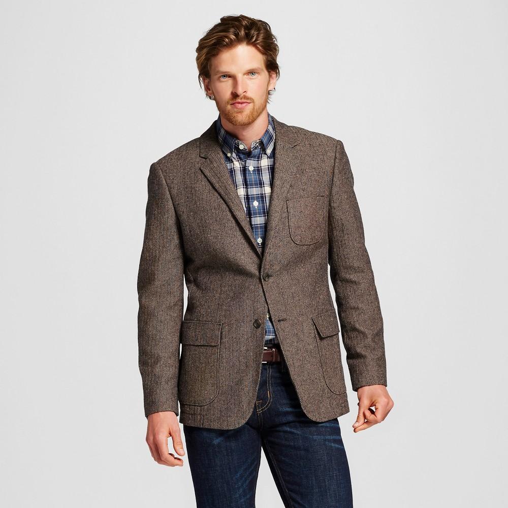 Mens Slim Fit Suit Coat Brown L - Merona