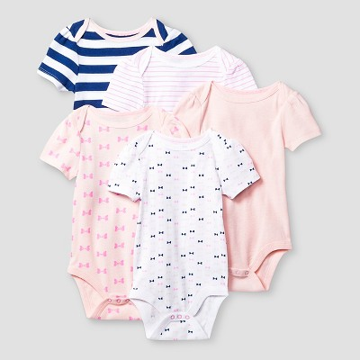 Baby Girls' Short Sleeve 5 Pack Bodysuit - Cat & Jack™ Pink/Navy 0-3M