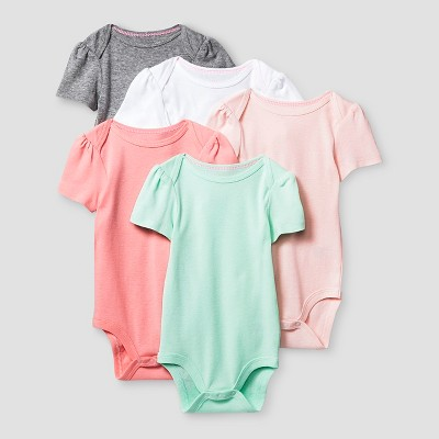 Baby Girls' Short Sleeve 5 Pack Bodysuit - Cat & Jack™ Pink/Coral 0-3M