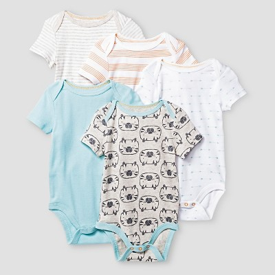 Baby Boys' Short Sleeve 5 Pack Bodysuit Cat & Jack™ - Turquoise/White/Gray/Orange 12M