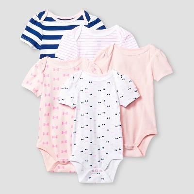 Baby Girls' Short Sleeve 5 Pack Bodysuit - Cat & Jack™ Pink/Navy 12M