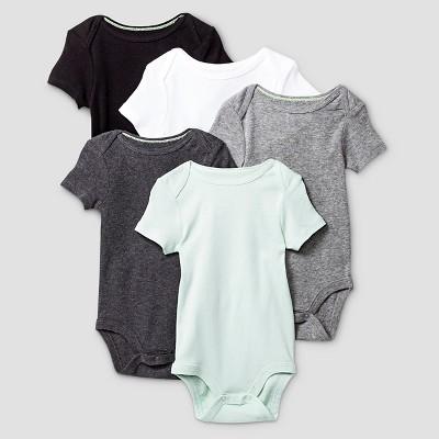 Baby Short Sleeve 5 Pack Bodysuit Cat & Jack™ - Gray/White NB