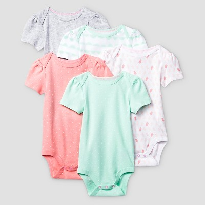 Baby Girls' Short Sleeve 5 Pack Bodysuit - Cat & Jack™ Coral/Aquamint 0-3M