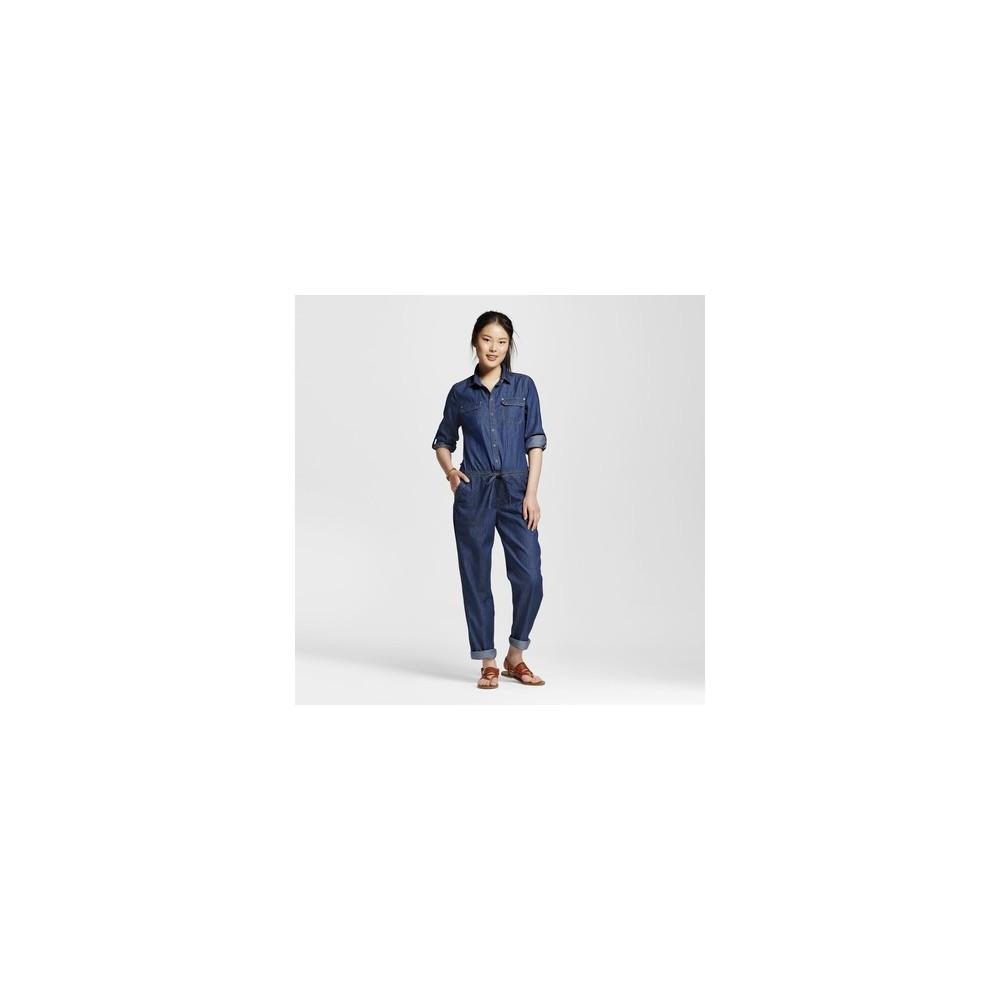 Womens Roll Sleeve Drawstring Waist Denim Jumpsuit Dark Wash L - Dollhouse (Juniors), Blue