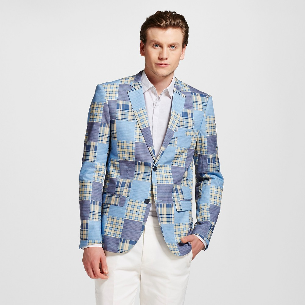Men's Slim Fit Patchwork Blazer Blue Xxl – WD-NY Black