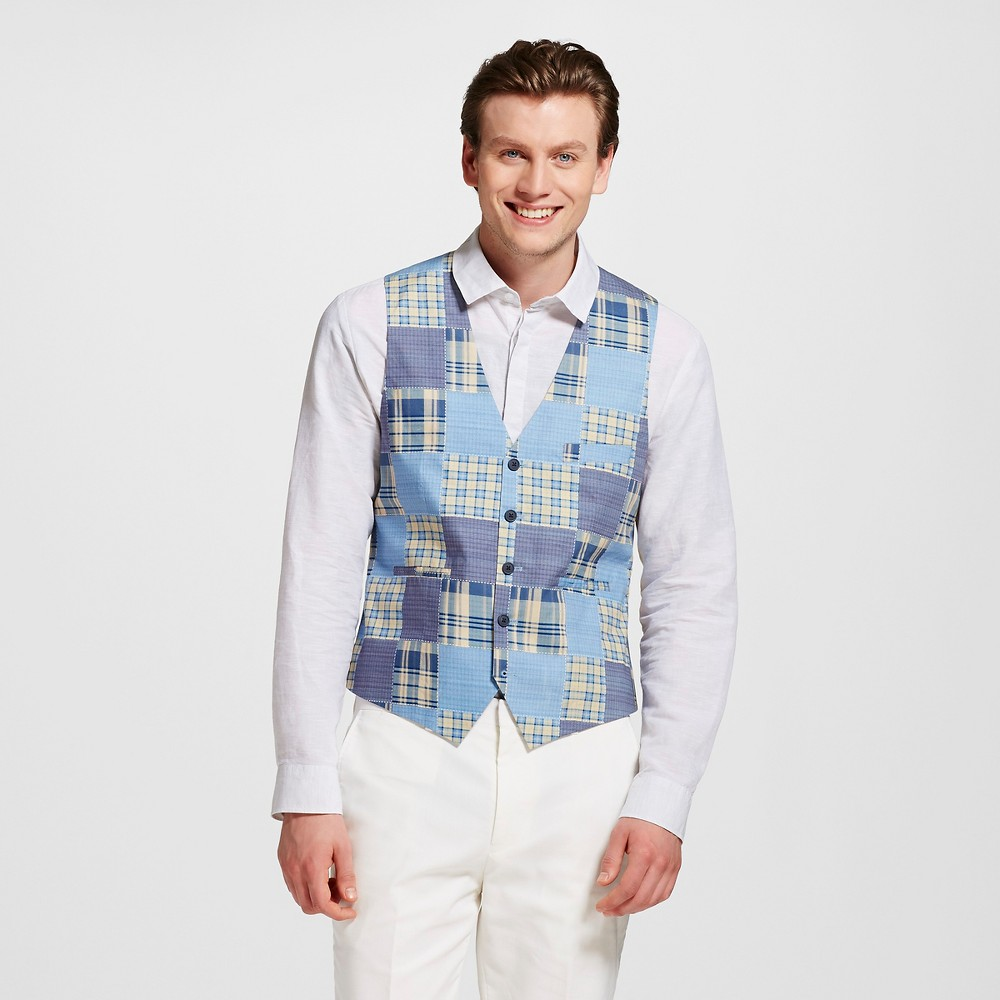 Men's Slim Fit Patchwork Vest Blue S – WD-NY Black