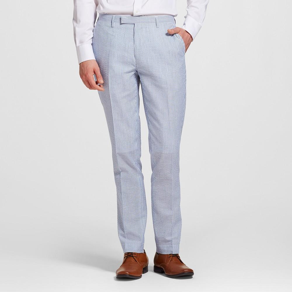 Men's Slim Fit Seersucker Dress Pants Blue 33×32 – WD-NY Black