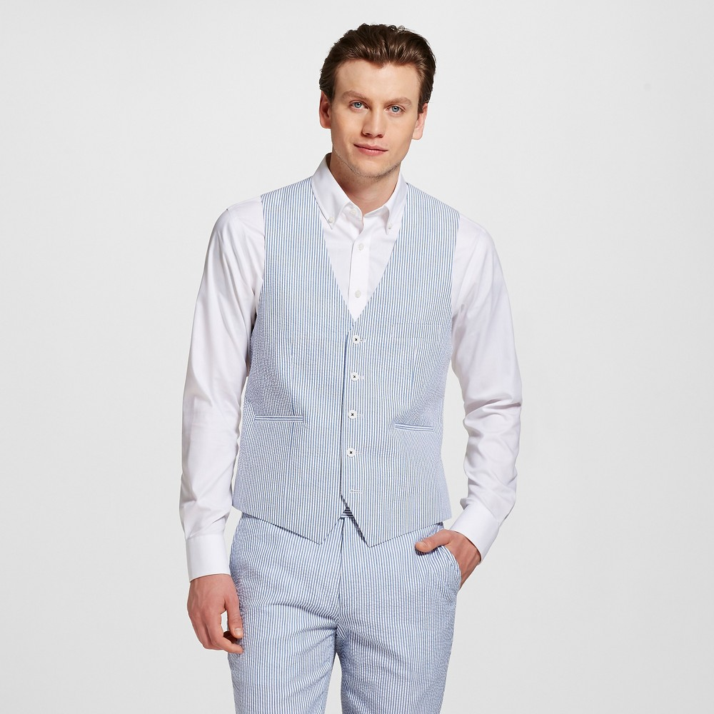 Men's Slim Fit Seersucker Vest Blue S – WD-NY Black