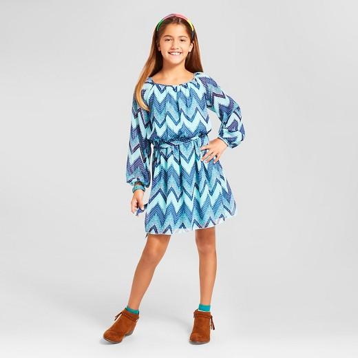 Girls' Chevron Print Peasant Dress - Blue : Target