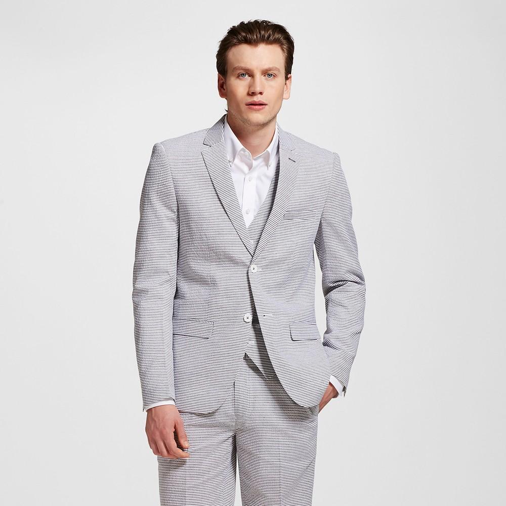 Men's Horizontal Seersucker Blazer Grey L – WD-NY Black, Gray