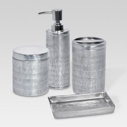 Hammered texture metal toothbrush holder silver for Grey silver bathroom accessories