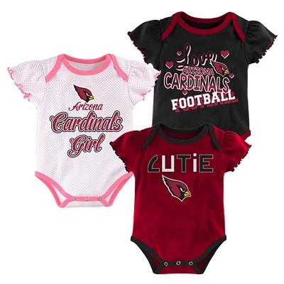 Arizona Cardinals Baby Girls' 3 Pack Bodysuit Set/Pink 3-6M