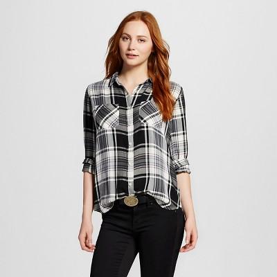 21526092ab82a6 Womens Drapey Boyfriend Plaid Shirt Black and White M - Mossimo Supply Co.™  (