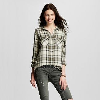 Female Button Down Shirts Olive S