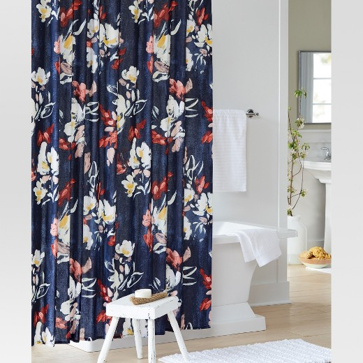 Floral Print Shower Curtain Blue Threshold Target