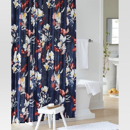 Floral Print Shower Curtain Blue