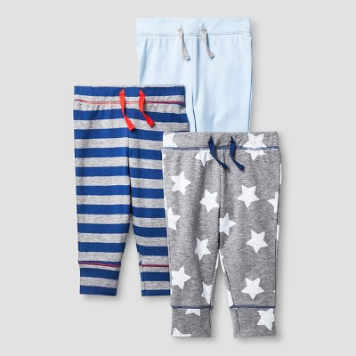 Baby Boys' 3 Pack Pants Cat & Jack™ - Navy/Heather Gray 0-3M