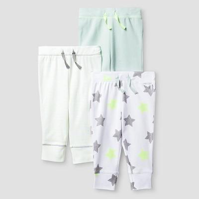 Baby 3 Pack Pants - Cat & Jack™ Mint/White Preemie