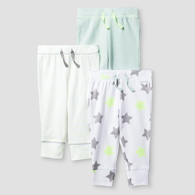 Baby 3 Pack Pants - Cat & Jack™ Mint/White 12M