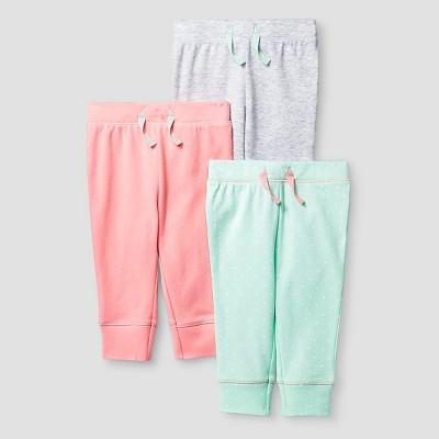 Baby Girls' 3 Pack Pants - Cat & Jack™ Coral/Aquamint 0-3M