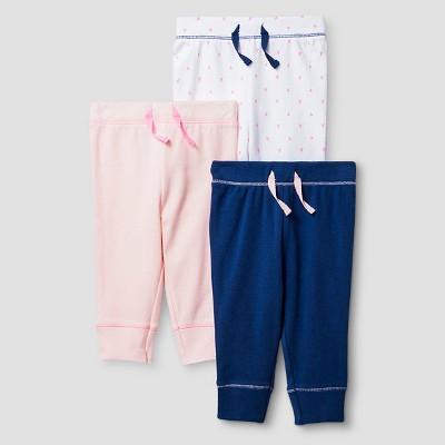 Baby Girls' 3 Pack Pants - Cat & Jack™ Pink/Navy 12M