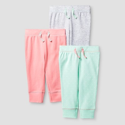 Baby Girls' 3 Pack Pants - Cat & Jack™ Coral/Aquamint 6-9M