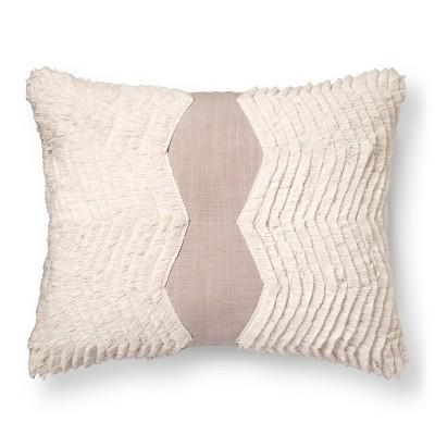 Fringe Oblong Throw Pillow (18 x18 )Gray - Nate Berkus™