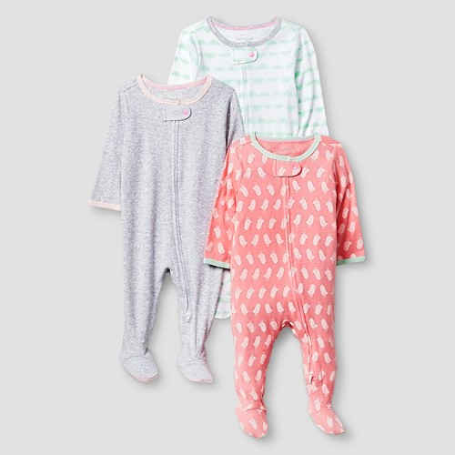 Baby Girls' 3 Pack Sleep N' Play Baby Cat & Jack - Coral/Heather Grey 3-6M, Infant Girl's, Size: 3-6 M, Pink