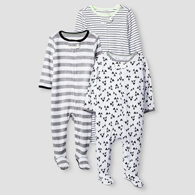 Baby 3 Pack Sleep N' Play Cat & Jack™ - Heather Gray/Black 3-6M