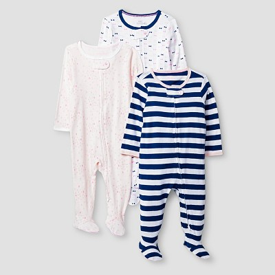 Baby Girls' 3 Pack Sleep N' Play Cat & Jack™ - Pink/Navy NB