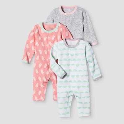 Baby Girls' 3 Pack Sleep N' Play Cat & Jack™ - Coral/Heather Gray Preemie