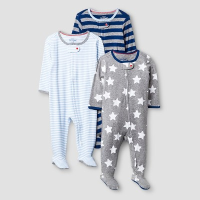 Baby Boys' 3 Pack Sleep N' Play Cat & Jack™ - Navy/Heather Gray 6-9M