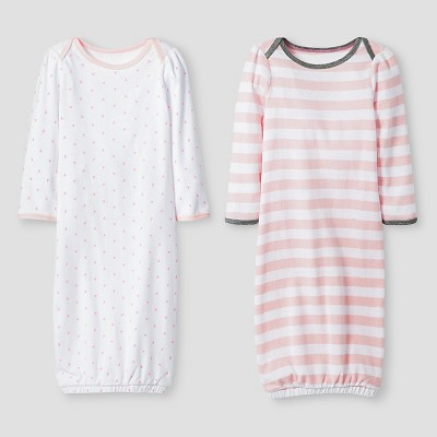 Baby Girls' 2 Pack Gown Set Cat & Jack™ - Pink/White 0-6M