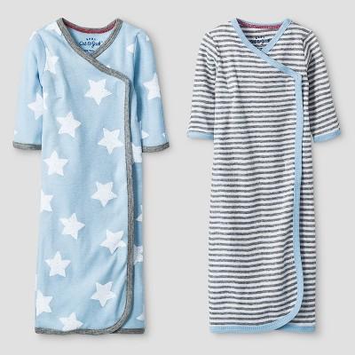 Baby Boys' 2 Pack Gown Set Cat & Jack™ - Blue/Heather Gray Preemie