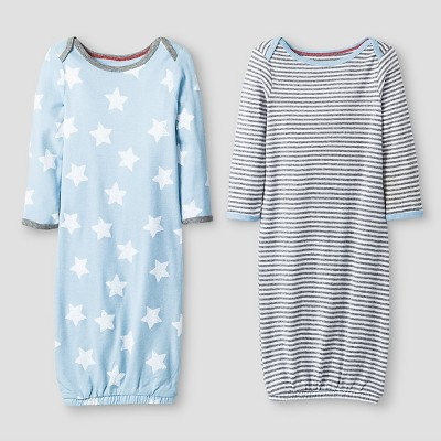 Baby Boys' 2 Pack Stripe/Star Gown Set Cat & Jack™ - Blue/Heather Gray 0-6M