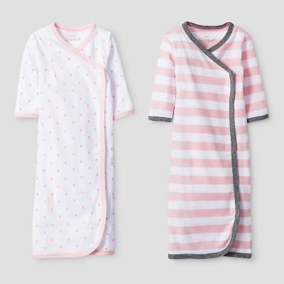 Baby Girls' 2 Pack Gown Set - Cat & Jack™ Pink/White Preemie