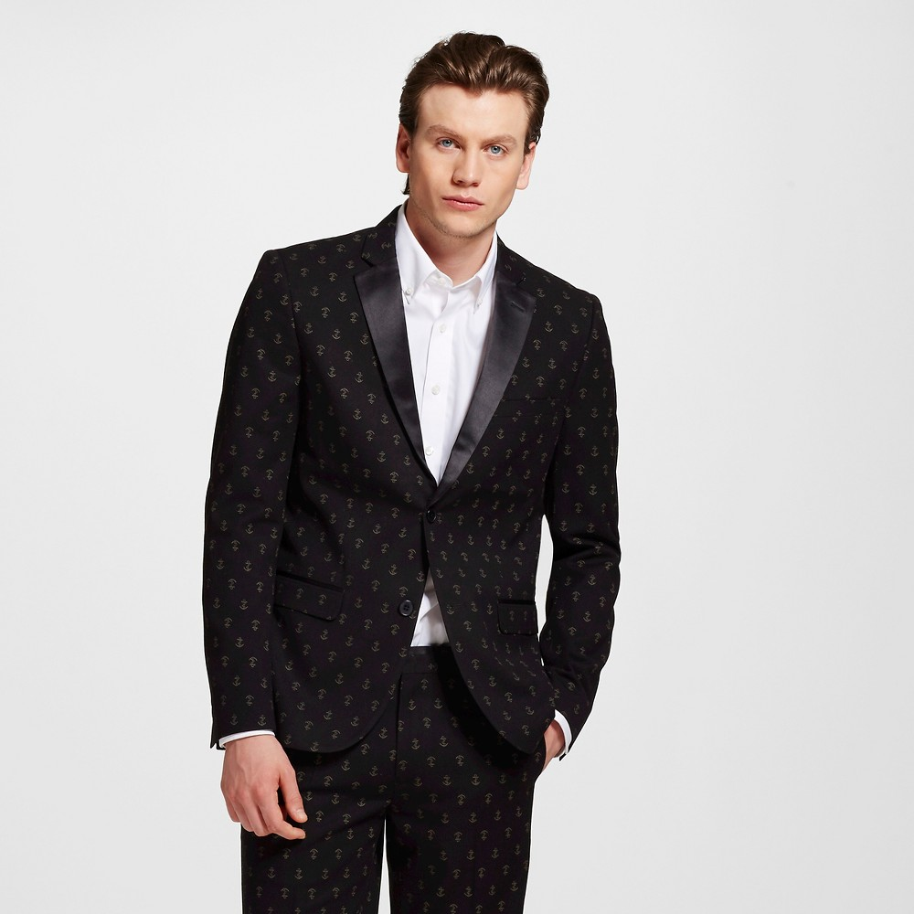Men's Anchor Print Tuxedo Jacket Black L – WD-NY Black