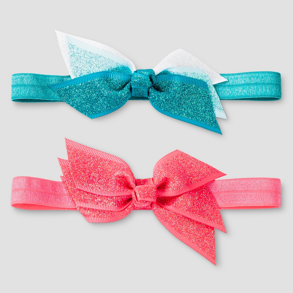 Girls 2pk Bow Headbands Cat & Jack - Pink/Turquoise