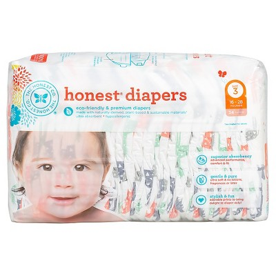 Honest Company Diapers Multi Colored Giraffes - Size 3 (34 ct)