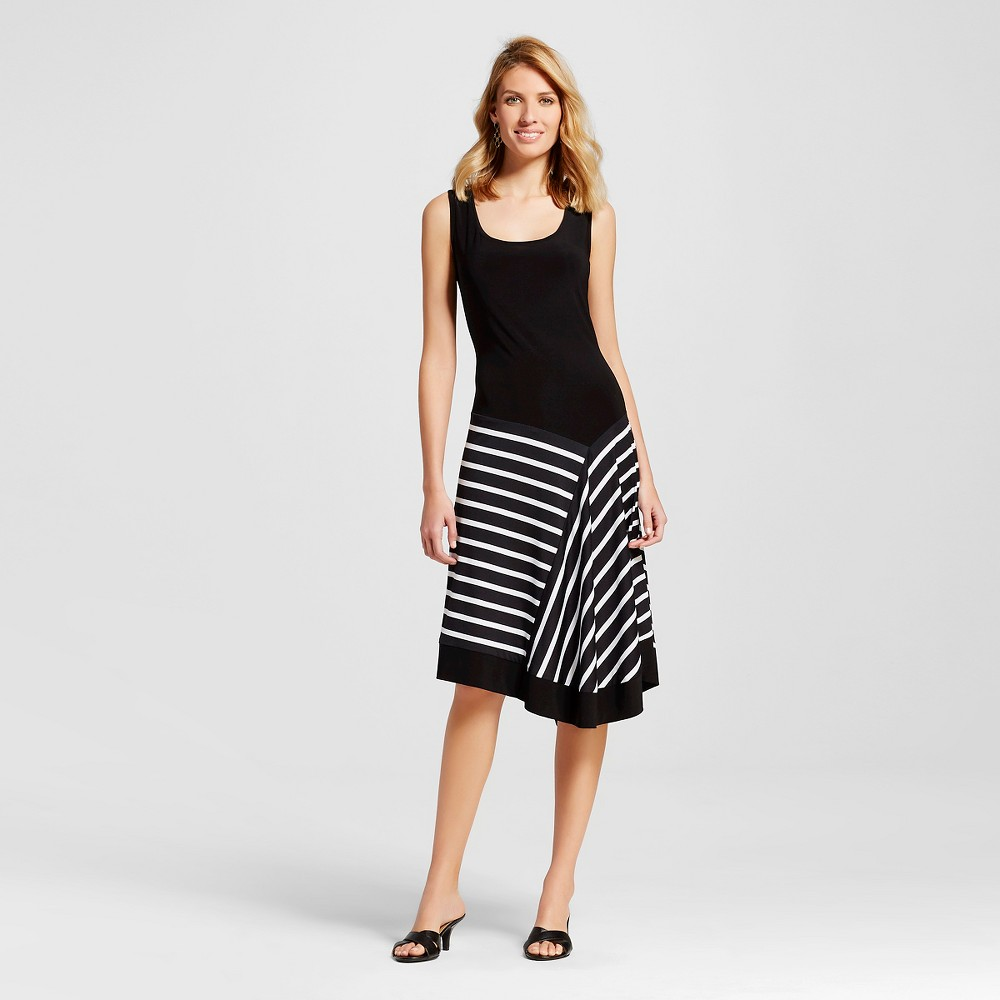 Womens Black Tank Dress with Striped Skirt Black/White L - Chiasso