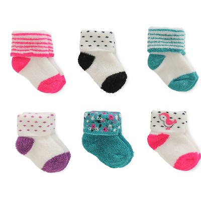 Just One You™ Made by Carter's® Baby Girls' 6pk Reverse Terry Cuff Socks - Pink/Purple/Teal 0-3M