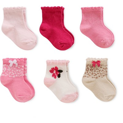 Just One You™ Made by Carter's® Baby Girls' 6pk Computer Socks - Pink/White/Gold 3-12M
