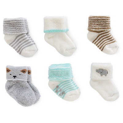 Baby 6pk Computer Socks - Just One You™ Made by Carter's® Gray/White 0-3M